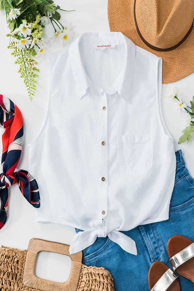 White Button Down Semi Cropped Tie Bottom Top