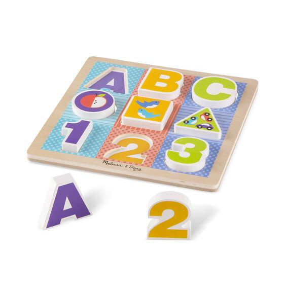 Melissa & Doug First Play Wooden ABC-123 PUZZLE