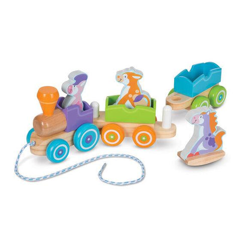 Melissa & Doug Wooden Rocking Farm Animals Pull Train