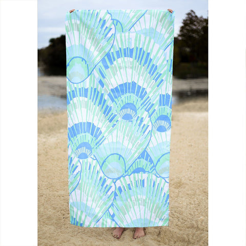 blue seashell microfiber beach towel