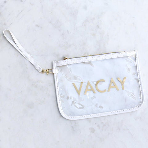 vacay clear wristlet