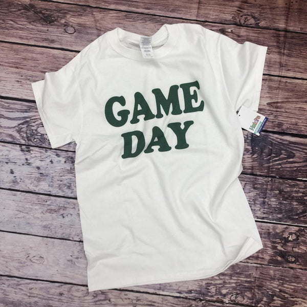 Game Day Tee White and Green