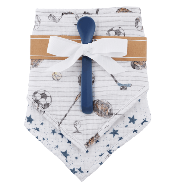 Sports Muslin Bib & Spoon Set