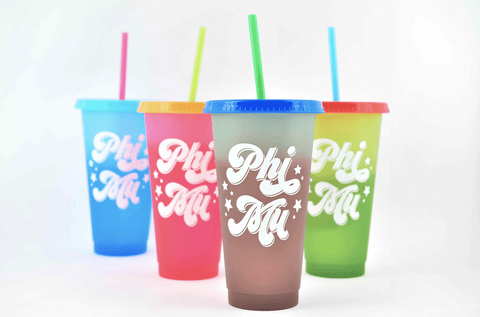 phi mu color changing cups set