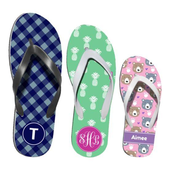 personalized youth flip flops