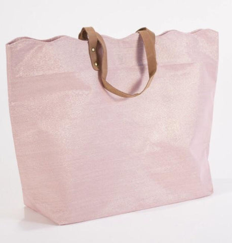 rose gold shimmer scallop tote