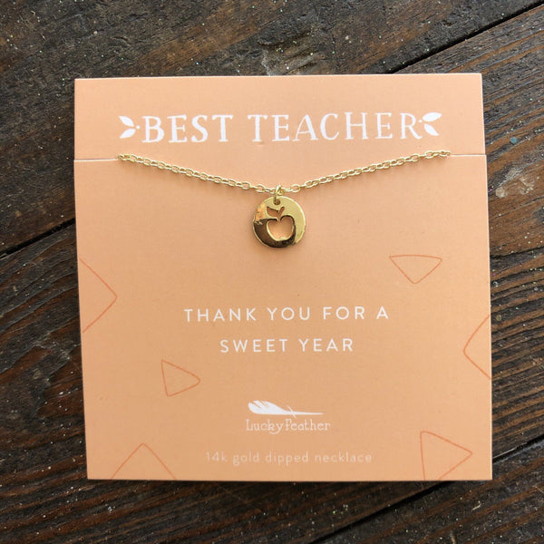 best teacher apple necklace