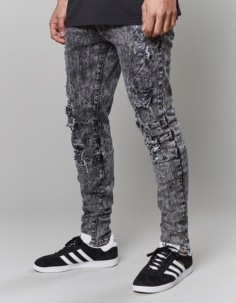 C&S ALLDD PANELED DENIM PANTS