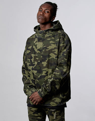 ALLDD DENIM HALF ZIP HOODY