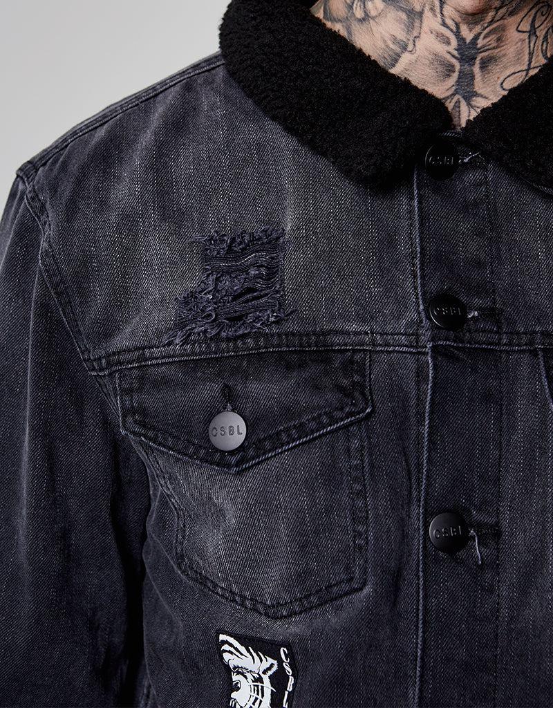 ALLDD PATCHED CLASSIC SHERPA  DENIM JACKET