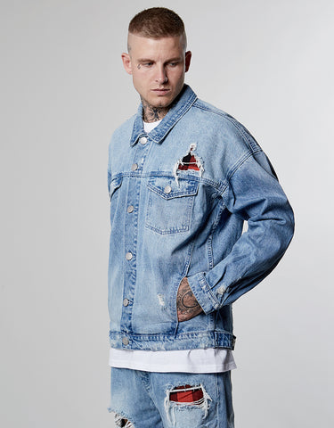 ALLDD FLANNELED TRUCKER DENIM JACKET