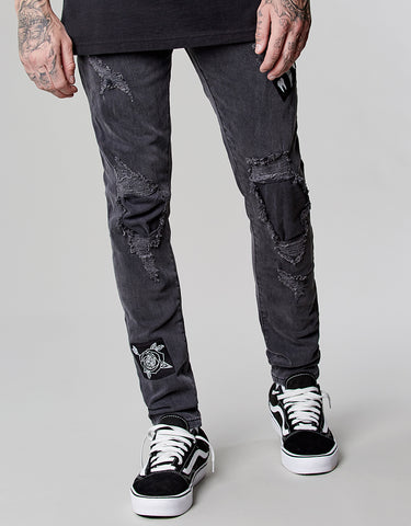 ALLDD PATCHED DENIM PANTS