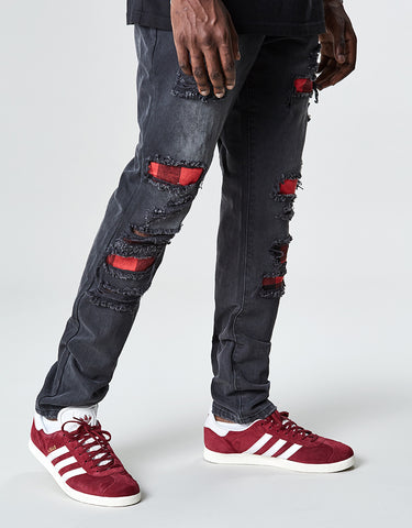 ALLDD FLANNELED DENIM PANTS