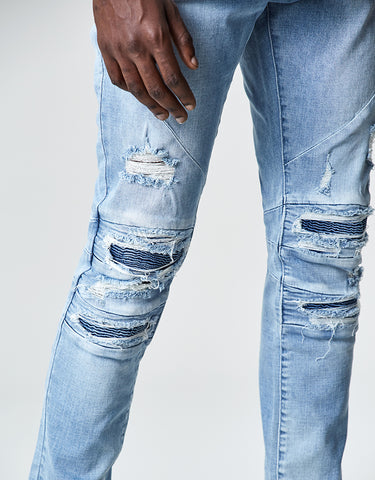 ALLDD PANELED INVERTED BIKER DENIM PANTS