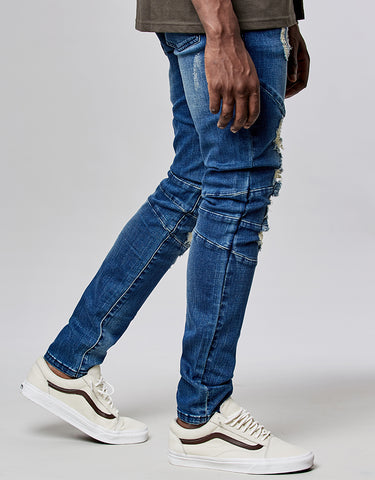 ALLDD PANELED DENIM PANTS