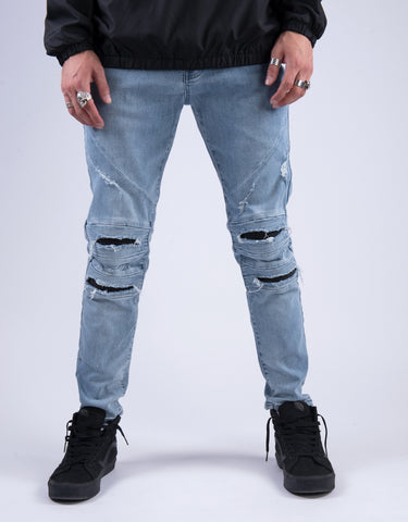 ALLDD PANELED INVERTED BIKER  IAN DENIM PANTS