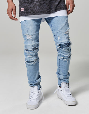 ALLDD PANELED INSIDE BIKER DENIM PANTS