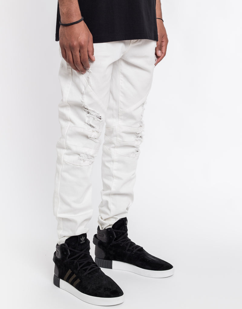 C&S PANELED DISTRESSED DENIM PANTS