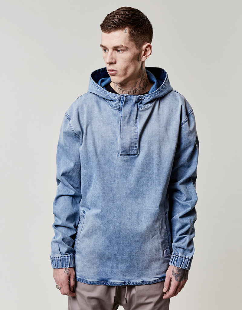 C&S ALLDD DENIM HALF ZIP HOODY