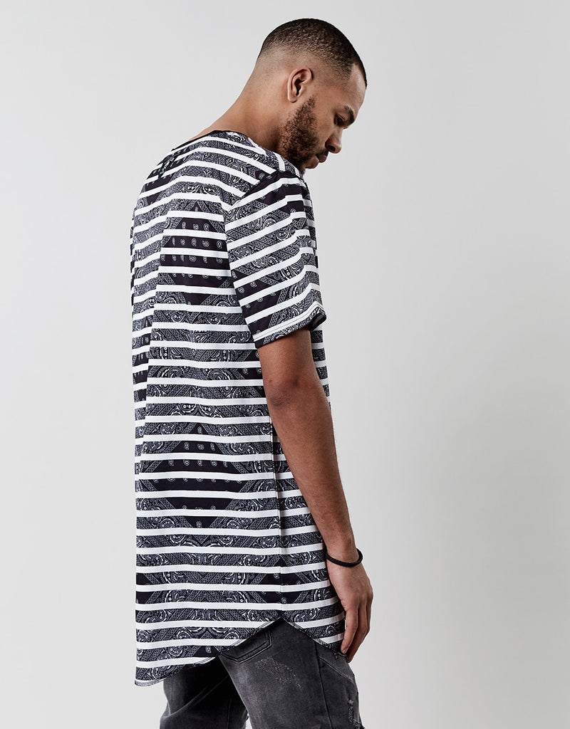 C&S WL BROOMPTON STRIPED LOOSE SCALLOP TEE