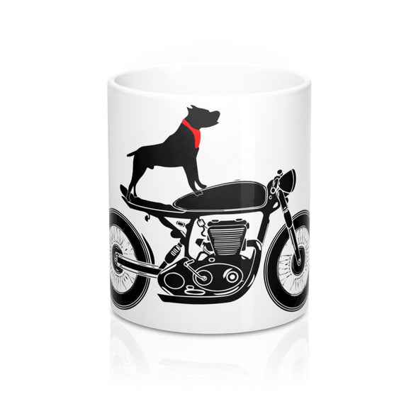 A dog, his bike and his coffee