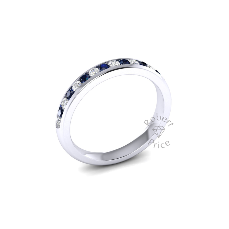 Channel Set Diamond & Sapphire Ring in 18ct White Gold (0.27 ct.)