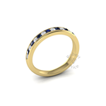 Channel Set Diamond & Sapphire Ring in 18ct Yellow Gold (0.27 ct.)