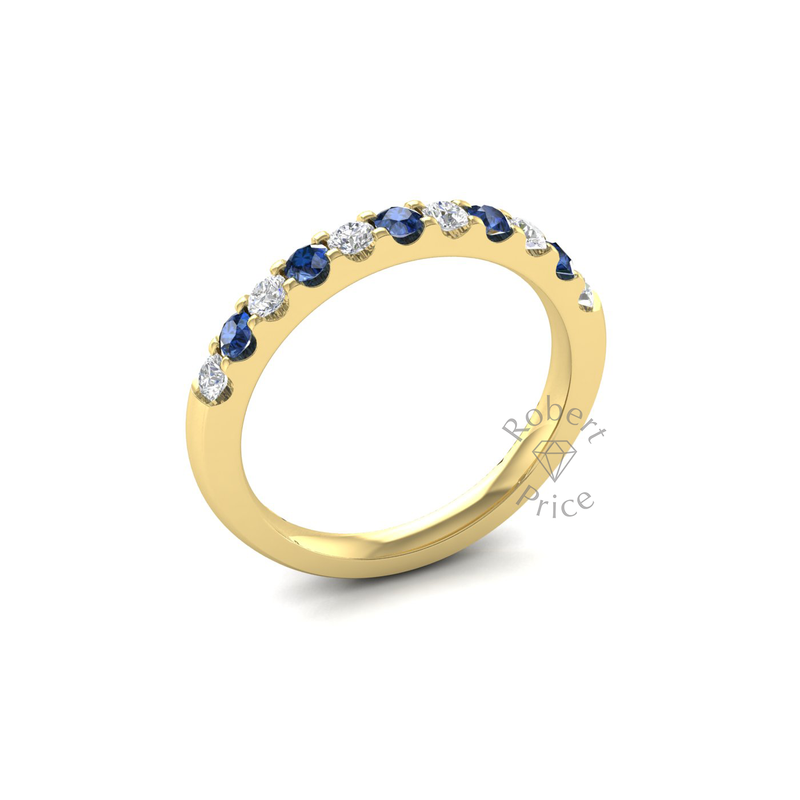 Claw Set Diamond & Sapphire Ring in 18ct Yellow Gold (0.3 ct.)