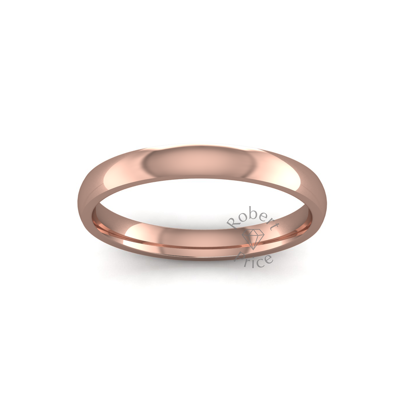 Classic Heavy Wedding Ring in 9ct Rose Gold (3mm)