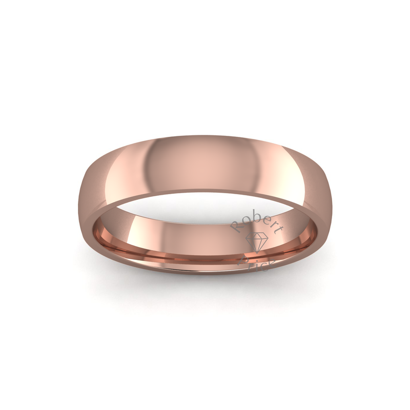 Classic Heavy Wedding Ring in 9ct Rose Gold (5mm)