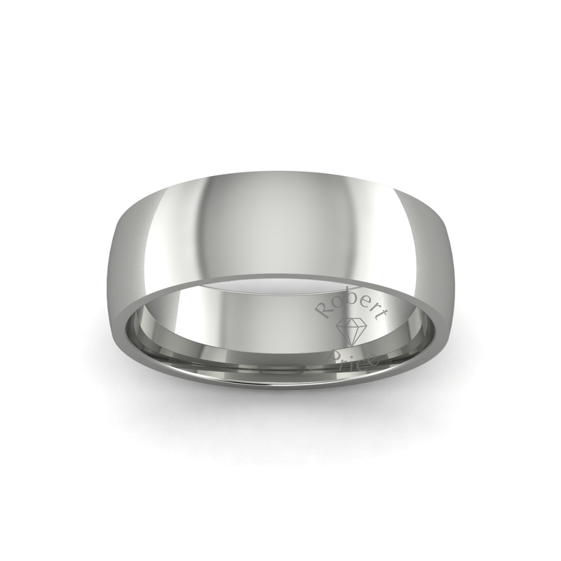 Classic Heavy Wedding Ring in 18ct White Gold (7mm)