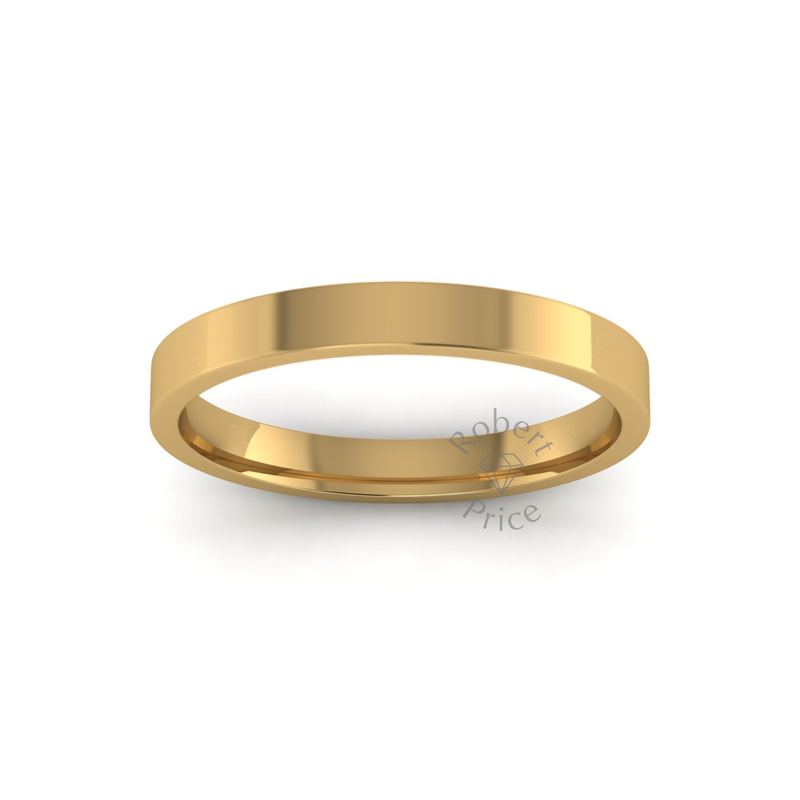Flat Court Heavy Wedding Ring in 18ct Yellow Gold (3mm)