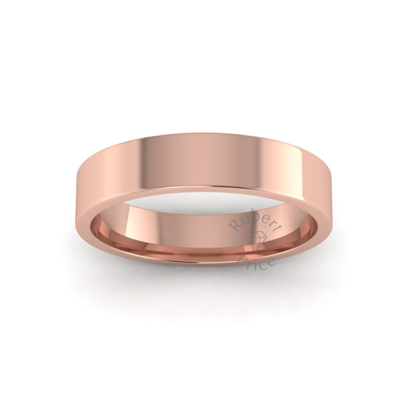Flat Court Heavy Wedding Ring in 9ct Rose Gold (5mm)