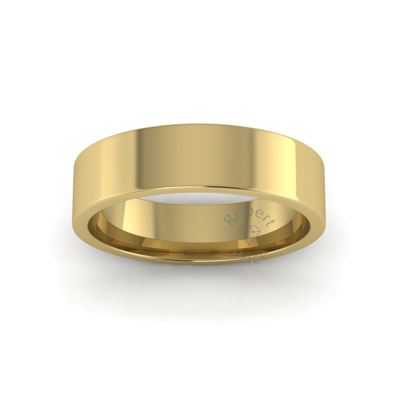 Flat Court Heavy Wedding Ring in 9ct Yellow Gold (6mm)