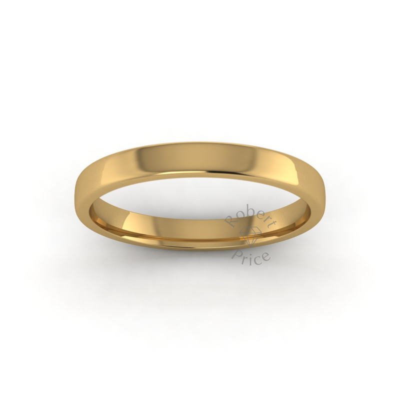 Soft Court Heavy Wedding Ring in 18ct Yellow Gold (3mm)