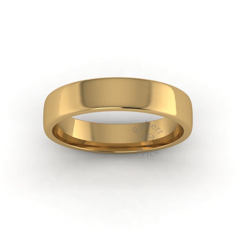 Soft Court Heavy Wedding Ring in 18ct Yellow Gold (5mm)