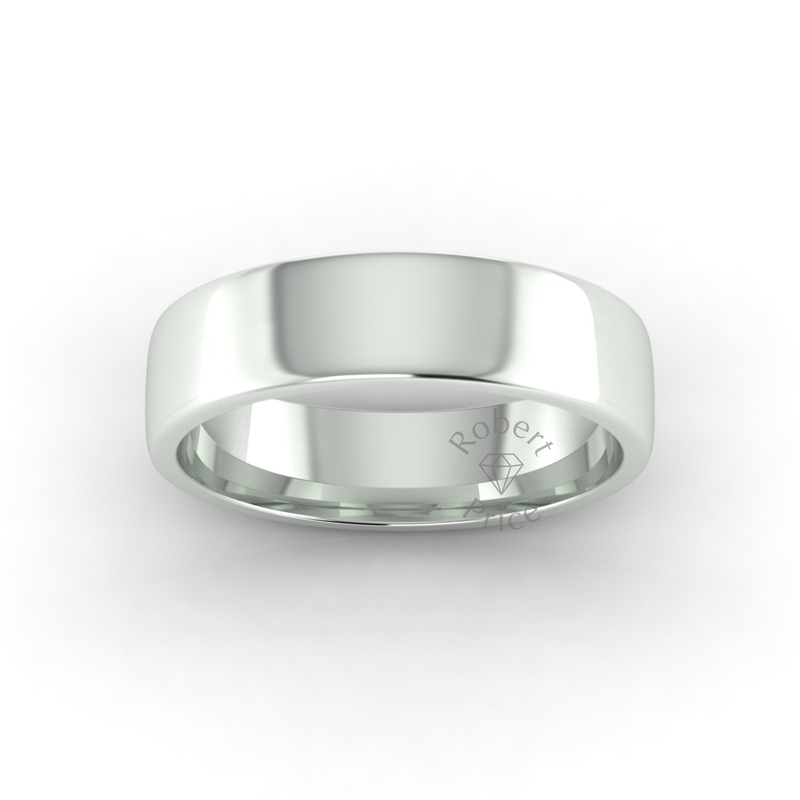 Soft Court Heavy Wedding Ring in 9ct White Gold (6mm)