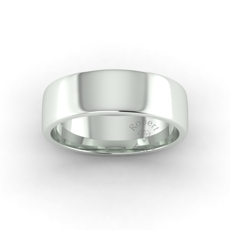 Soft Court Heavy Wedding Ring in 9ct White Gold (7mm)