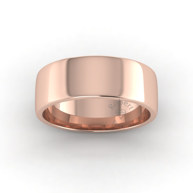 Soft Court Heavy Wedding Ring in 18ct Rose Gold (8mm)