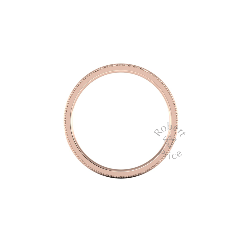 Millgrain Wedding Ring in 18ct Rose Gold (5mm)