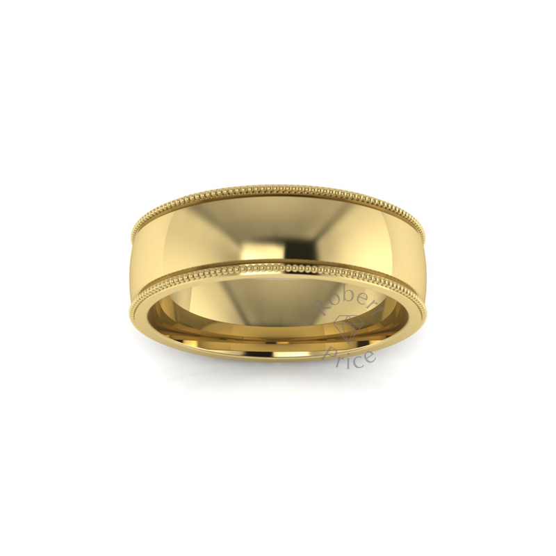 Millgrain Wedding Ring in 9ct Yellow Gold (6mm)