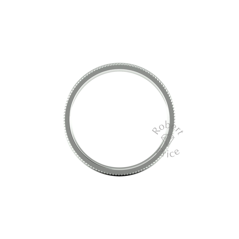Millgrain Wedding Ring in 9ct White Gold (7mm)