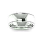 Millgrain Wedding Ring in 9ct White Gold (8mm)