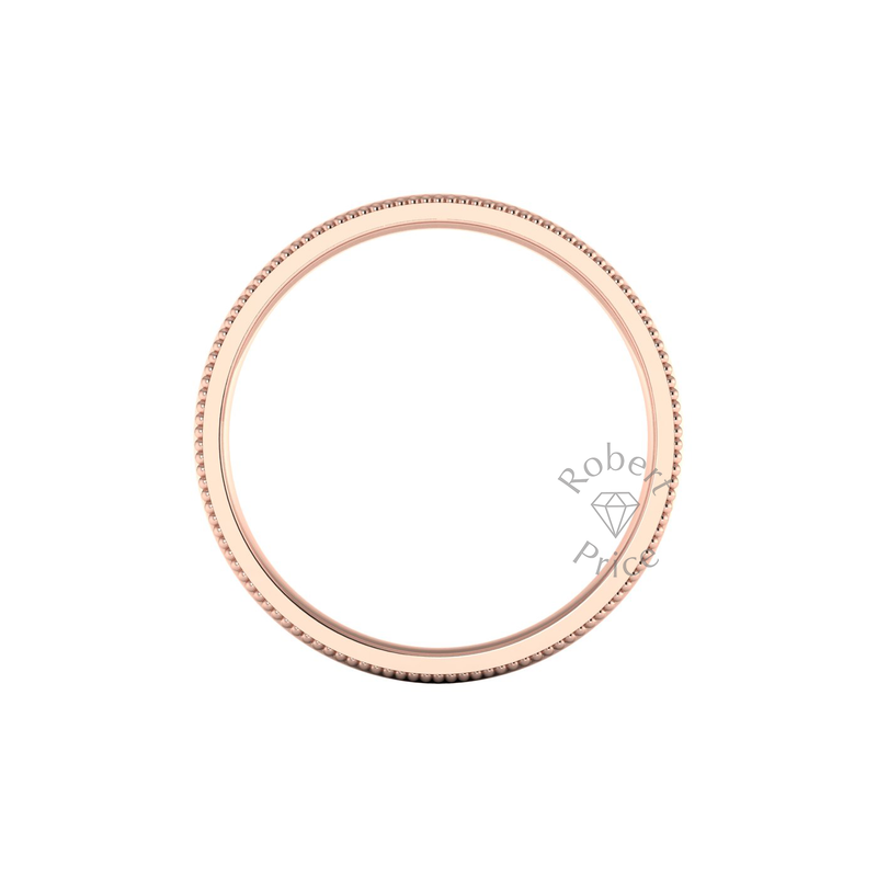 Millgrain Wedding Ring in 9ct Rose Gold (8mm)