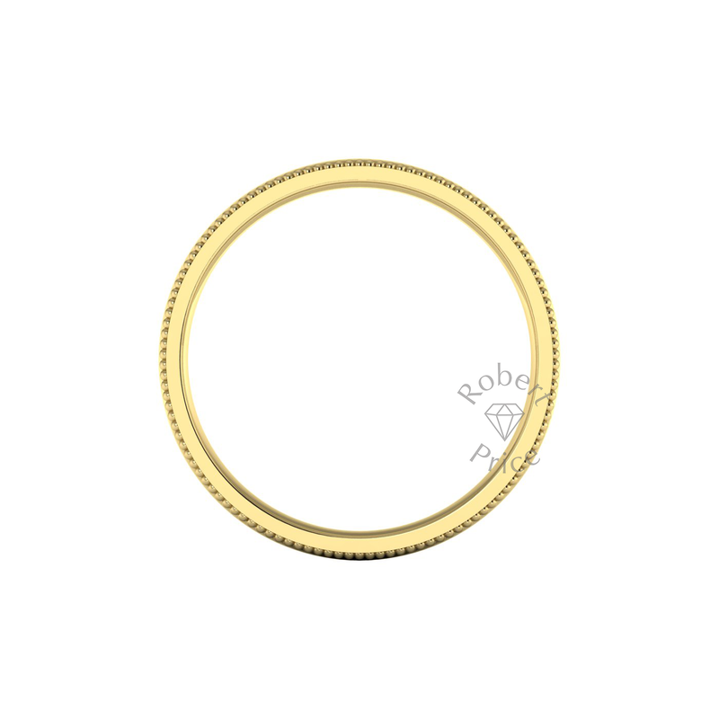 Millgrain Wedding Ring in 9ct Yellow Gold (8mm)