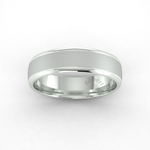 Two Tone Grooved Wedding Ring in 9ct White Gold (6mm)