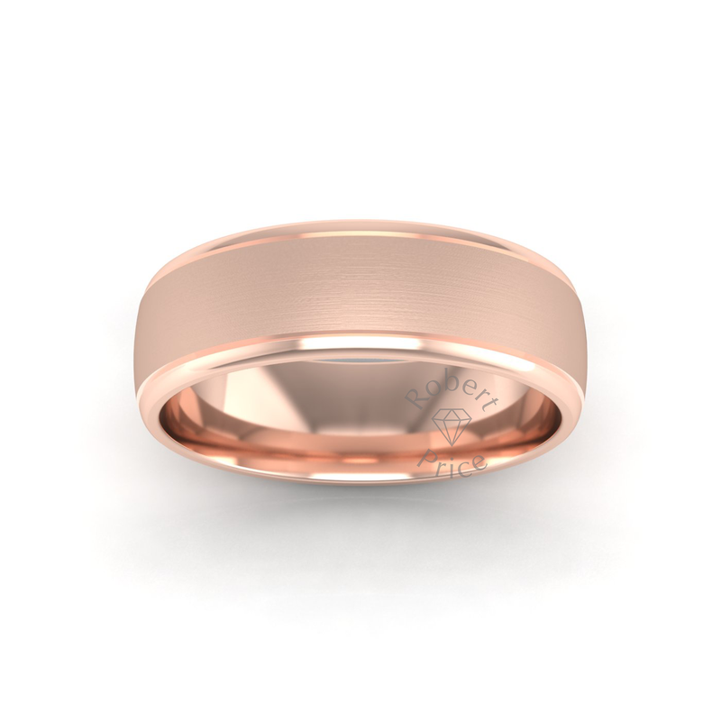 Two Tone Grooved Wedding Ring in 18ct Rose Gold (7mm)