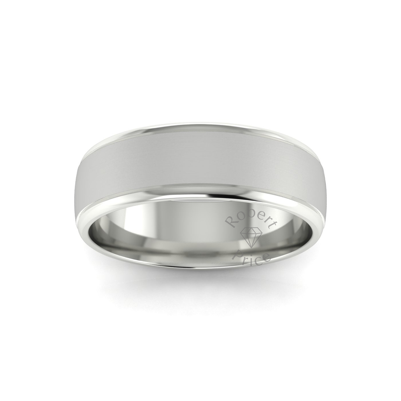 Two Tone Grooved Wedding Ring in 18ct White Gold (7mm)