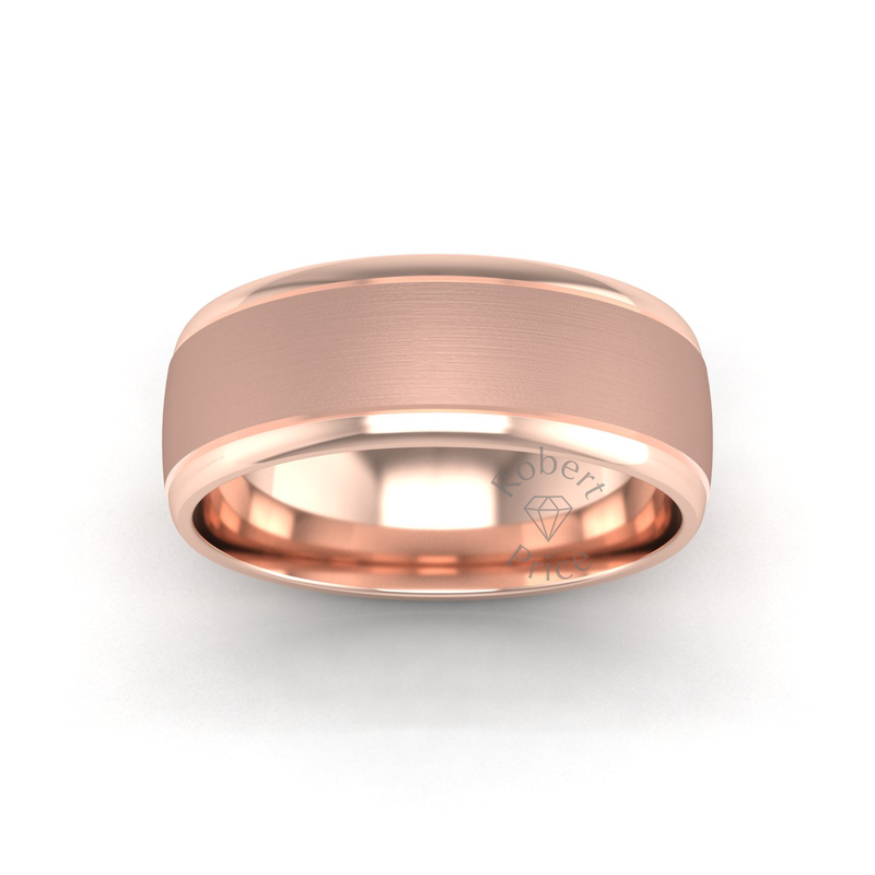 Two Tone Grooved Wedding Ring in 9ct Rose Gold (8mm)