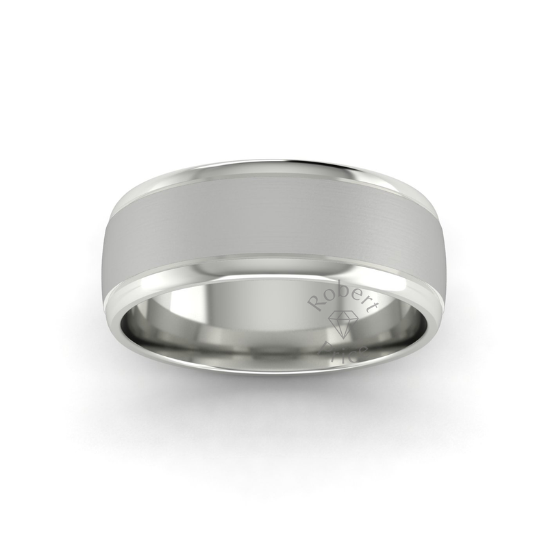 Two Tone Grooved Wedding Ring in 18ct White Gold (8mm)